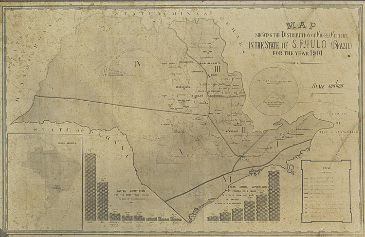 Reprodução de Mapa: Map Showing The Distribution of Coffee Culture In The State Of S. Paulo (Brazil) For The Year 1901, Guilherme Gaensly.