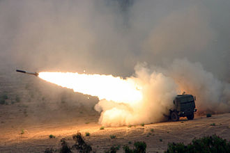 HIMARS - An MFOR rocket is launched from a HIMARS