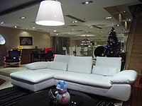 HK Sunday night Canton Road furniture shop interior Leather Sofa in white Xmas 2009.JPG