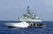 HMS Iron Duke Seaboat Boards Drugs Vessel MOD 45150488