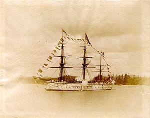 HMS Triumph (1870) - Image: HMS Triumph dressed circa 1887