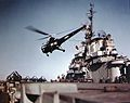 HO3S-1 flies over USS Kearsarge (CV-33) 1948.jpg