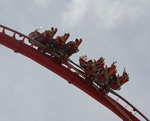 """Hollywood Rip Ride Rockit - A ride vehicle for """"Hollywood Rip Ride Rockit"""", traversing the first """"loop"""" element. The vehicle uses Maurer Söhne's X-Car Coaster design."""