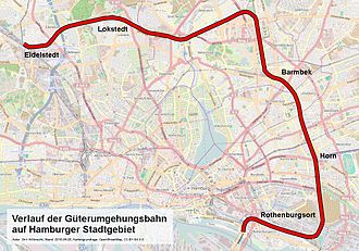 Hamburg freight rail bypass - Route of the northern freight bypass