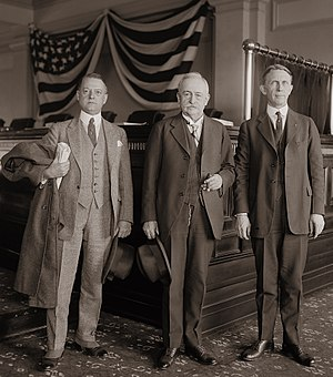 Great Railroad Strike of 1922 - G.W.W. Hanger, R.M. Barton, and Chairman Ben W. Hooper of the Railroad Labor Board, which approved the wage cut for train maintenance workers that prompted the 1922 Railroad Shopmen's Strike.