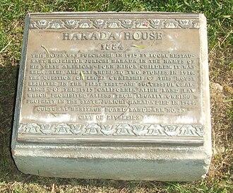 Harada House - Image: Harada House Plaque 20091024a