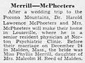 Harold Lawrence McPheeters (1923- ) and Phyliss Merrill (1924-2011) engagement in The Courier-Journal of Louisville, Kentucky on January 4, 1952.jpg