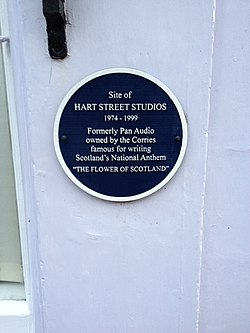 Photo of The Corries, Pan Audio, and Hart Street Studios blue plaque