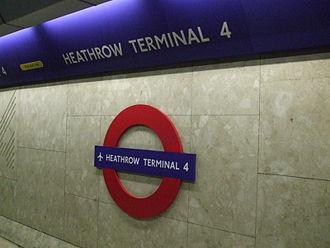 Heathrow Terminal 4 tube station - Image: Heathrow Terminal 4 tube roundel