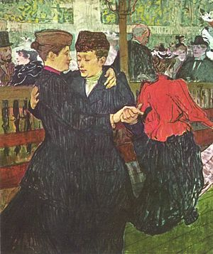 Modern art - Henri de Toulouse-Lautrec, At the Moulin Rouge: Two Women Waltzing, 1892