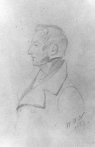 Henry Charles Angelo the Younger - Henry Charles Angelo the Younger in a pencil drawing by W.H. Nightingale, 1839. National Portrait Gallery, London.