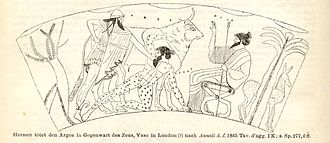 Argus Panoptes - Drawing of an image from a 5th-century BC Athenian red figure vase depicting Hermes slaying the giant Argus Panoptes.  Note the eyes covering Argus' body.  Io as a cow stands in the background.