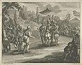 Hernán Cortés ontmoet Montezuma in Tenochtitlan, 1519, RP-P-1907-4758.jpg