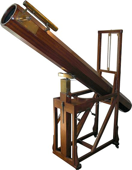 Replica in the William Herschel Museum, Bath, of a telescope similar to that with which Herschel discovered Uranus HerschelTelescope.jpg