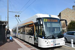 Trolleybuses in Limoges - A Hess Swisstrolley 4 trolleybus at the line 4 terminus at Montjovis, 2015.
