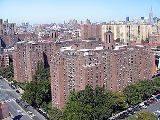 Cooperative Village - Hillman Housing buildings on Grand Street as seen from the East River towers. Amalgamated Dwellings is seen between the second and the third tower