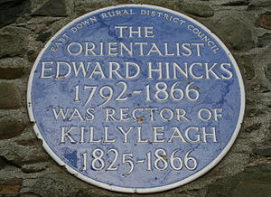 Edward Hincks - Plaque to Edward Hincks in Killyleagh, County Down