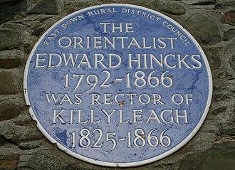 Edward Hincks - Plaque to Edward Hincks in Killyleagh, County Down