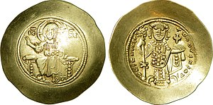 A gold coin stamped with the image of Nikephoros III and Christ Pantocrator