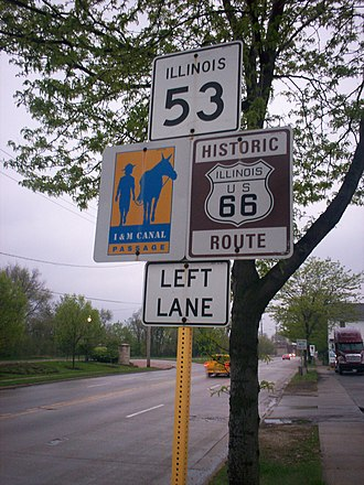 National Register of Historic Places listings in Will County, Illinois - Image: Historic Route 66 & Route 53 in Joliet IL south of Theodore Street