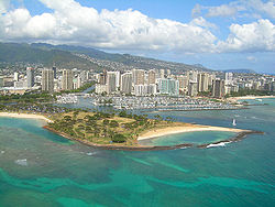 Aerial view of Magic Island, featuring Ala Wai Yacht Harbor