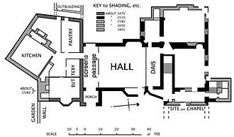 Great hall - Plan of Horham Hall, a 16th-century English manor house. All of the basic features of a great hall are present: a screens passage, leading from the entrance porch; a dais; a bay window (not essential but very common). The main staircase is at the dais end, and photographs show that the hall was the full height of the two-storey house