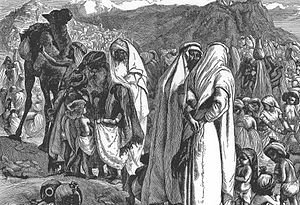 "Transjordan in the Bible - ""Reuben and Gad Ask for Land"", engraving by Arthur Boyd Houghton based on Numbers 32."