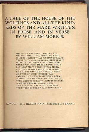 The House of the Wolfings - Title page of 1889 First Edition, London