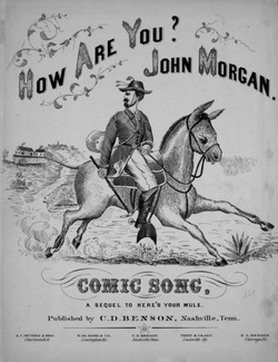 "Stylized drawing of a man on a mule, dressed in  suit coat with feathers in his hat; the sheet music is entitled  ""How Are You John Brown, Comic song, Sequel to Here's Your  Mlololololoule."""
