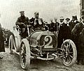 Hubert and Mme Le Blon at 1906 Targa Florio driving Hotchkiss.jpg