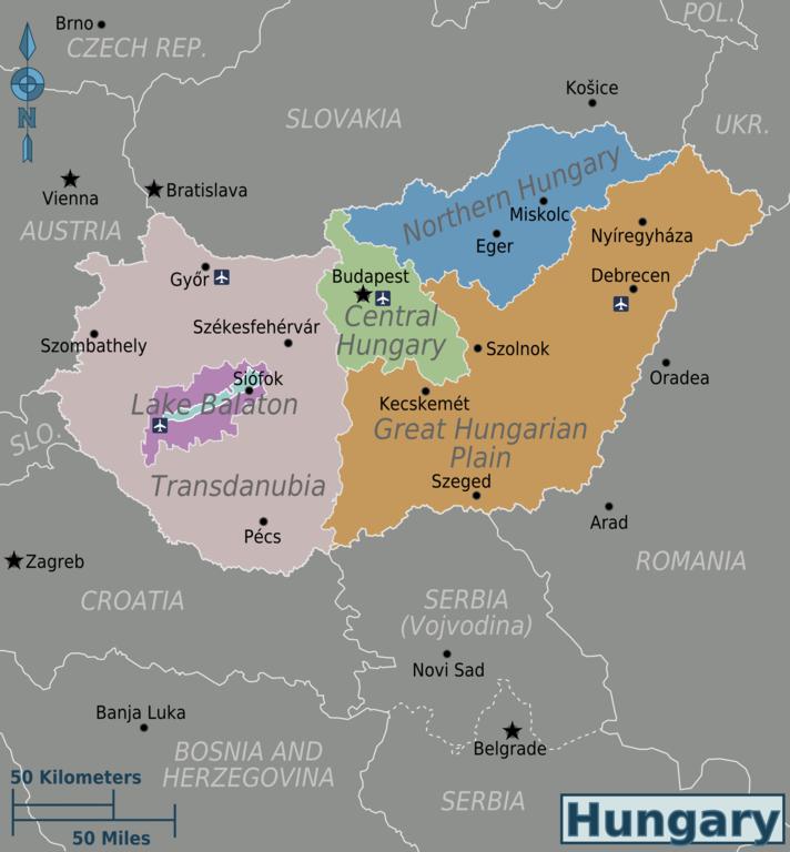 Wikivoyage Karte von Ungarn