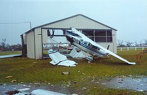 Hurricane Keith - Destruction to an airplane hangar in Belize