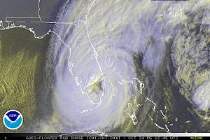 Hurricane Wilma - The eye of Wilma over Florida, shortly after landfall