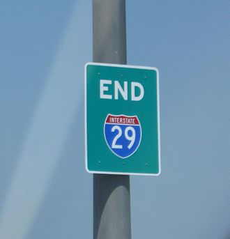 "Interstate 29 - The Interstate 29 ""END"" shield at its southern terminus in Kansas City."