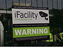iFacility Sign warning that premises are watched by CCTV cameras.