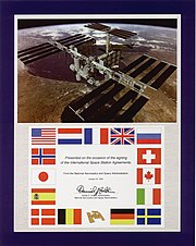 Cover page of the Space Station Intergovernmental Agreement signed on January 28, 1998.