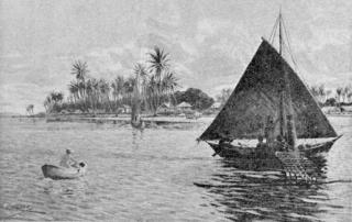 <i>Wa</i> (watercraft) type of outrigger canoe from the Caroline Islands