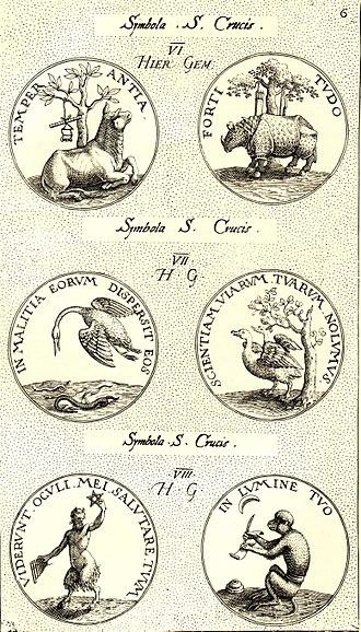Heraldic badge - Imprese from Jacobus Typotius, Symbola Divina et Humana (Prague, 1601), engraved by Aegidius Sadeler II.