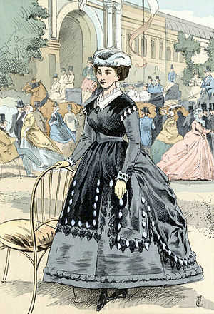 Eugénie hat - 1866 French fashion plate showing a hat with the upturned brim typical of the Eugénie style