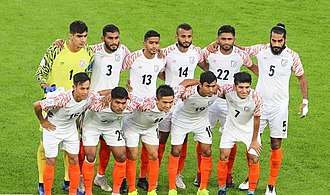 India playing XI against Thailand at 2019 AFC Asian Cup India NT at 2019 AFC Asian Cup.jpg
