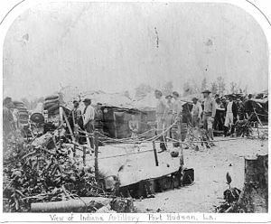 1st Indiana Heavy Artillery Regiment - Indiana artillery, presumably part of the 1st Regiment, at the Siege of Port Hudson in 1863