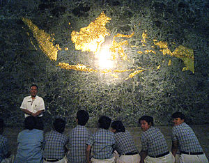 Nusantara - A gilded map of Nusantara in the Hall of Independence, Indonesian National Monument, Jakarta. Sabah, Sarawak, Brunei and East Timor are also included.