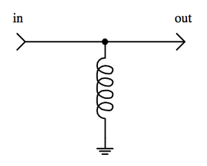 Example of signal filtering. In this configuration, the inductor decouples DC current, while allowing AC current to pass. InductorSignalFilter2.png
