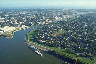 Industrial Canal - The Industrial Canal from the river to the lake. The Mississippi is at lower left and Lake Pontchartrain is at top in the distance. View is to the northwest. Picture taken before August 29, 2005.