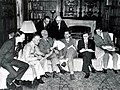 Informal meeting in the Study, Dumbarton Oaks, Washington, D.C., 1944, National Archives (Loxley, Cadogan, Stettinius, Gromyko, Sobolev, Berezhkov, Dunn, Pasvolsky).jpg