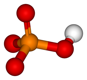 Protein kinase - A ball-and-stick model of the inorganic phosphate molecule (HPO42−). Colour coding: P (orange); O (red); H (white).