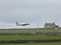 Islander leaving Sanday airstrip.jpg