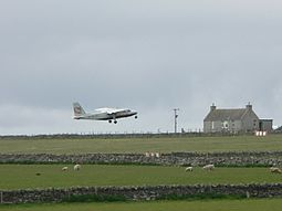 Islander leaving Sanday airstrip.jpg