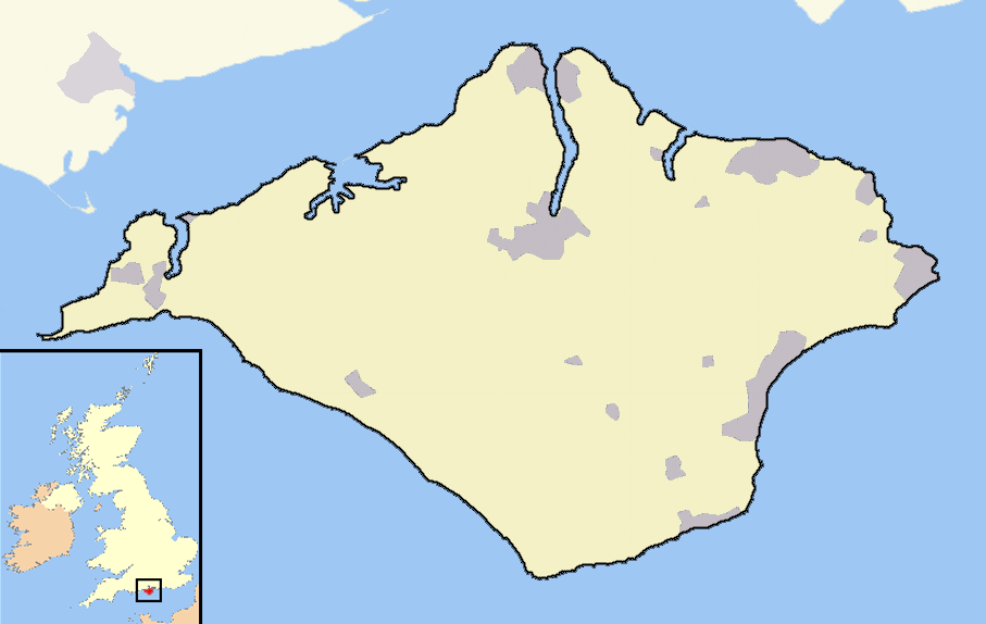 Isle of Wight outline map with UK