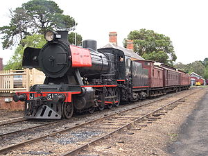 Tourist and Heritage Railways Act - Tourist and heritage railway operators such as the Victorian Goldfields Railway will be covered by the Tourist and Heritage Railways Act when it commences.  The picture shows former Victorian Railways J class steam locomotive J 515 which is operated by that organisation.  The train is awaiting departure from Maldon railway station on the Victorian Goldfields Railway on 20 January 2007.  The railway operates on a preserved former Victorian Railways branch line.